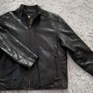 Andrew Marc brown leather bomber jacket XL
